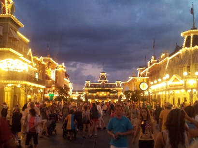 Main Street lit up...
